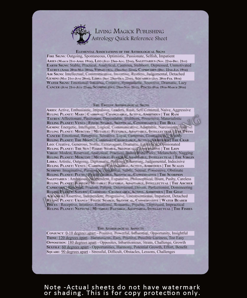 Astrology Quick Reference Sheet - Living Magick